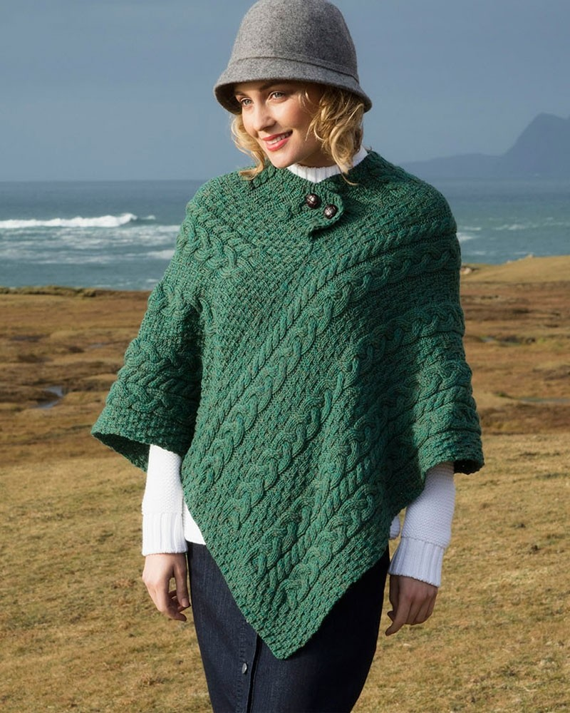 fd038486a Merino Wool Aran Poncho - Moss Green - Irish Design