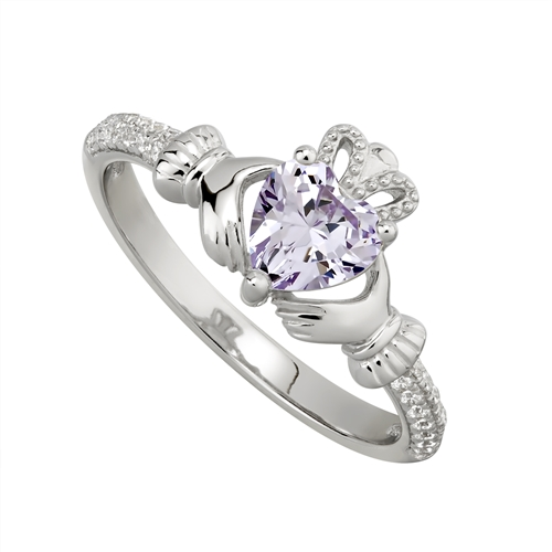 0c4d220149314 Sterling Silver Claddagh Birthstone Ring - June